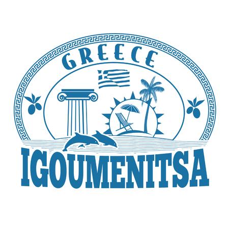 greece stamp: Igoumenitsa, Greece stamp or label on white background, vector illustration