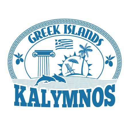 greek islands: Greek Islands, Kalymnos, stamp or label on white background, vector illustration