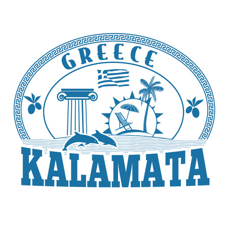 greece stamp: Kalamata, Greece stamp or label on white background, vector illustration