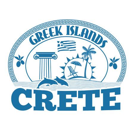 greek islands: Greek Islands, Crete, stamp or label on white background, vector illustration