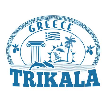 greece stamp: Trikala, Greece stamp or label on white background, vector illustration