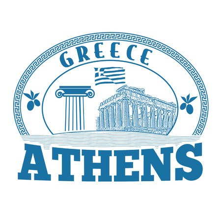 advertising column: Athens, Greece stamp or label on white background, vector illustration