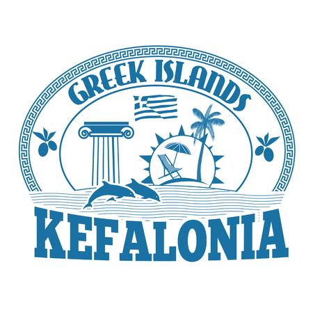 greek islands: Greek Islands, Kefalonia, stamp or label on white background, vector illustration Illustration