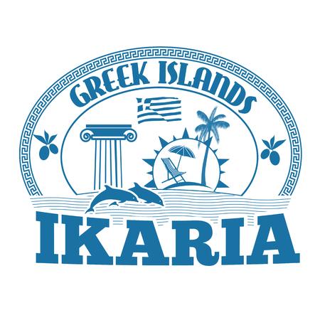 greek islands: Greek Islands, Ikaria, stamp or label on white background, vector illustration