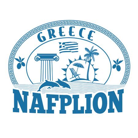 greece stamp: Nafplion, Greece stamp or label on white background, vector illustration