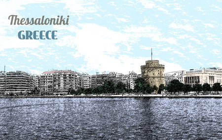 byzantine: The white tower at Thessaloniki city in Greece, vector illustration Illustration