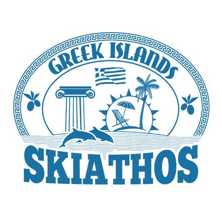 greek islands: Greek Islands, Skiathos, stamp or label on white background, vector illustration