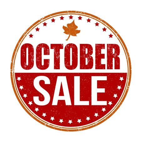 october: October sale grunge rubber stamp on white background, vector illustration