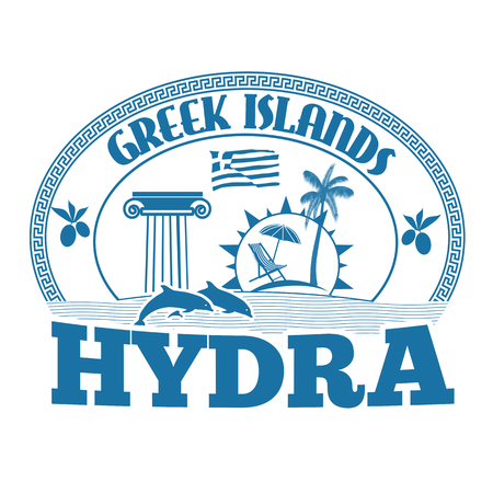hydra: Greek Islands, Hydra, stamp or label on white background, vector illustration
