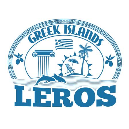 greek islands: Greek Islands, Leros, stamp or label on white background, vector illustration