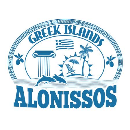 advertising column: Greek Islands, Alonissos, stamp or label on white background, vector illustration