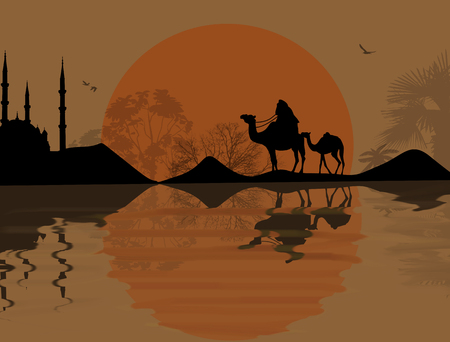 geography background: Bedouin camel caravan in beautiful landscape near water on sunset, vector illustration