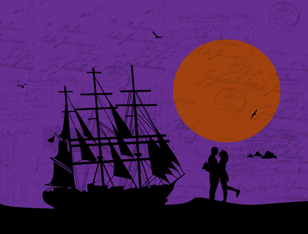 lila: Ancient ship and lovers on grunge handwriting background, vector illustration