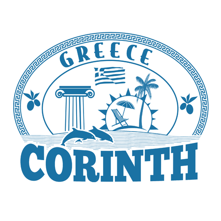 greece stamp: Corinth, Greece stamp or label on white background, vector illustration