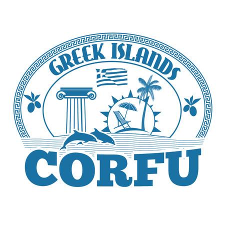 greek islands: Greek Islands, Corfu, stamp or label on white background, vector illustration Illustration