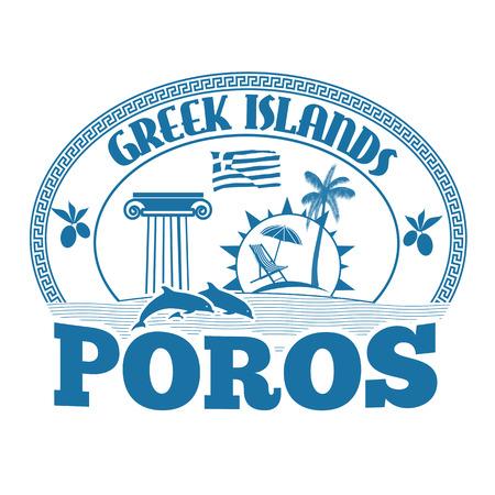 advertising column: Greek Islands, Poros, stamp or label on white background, vector illustration