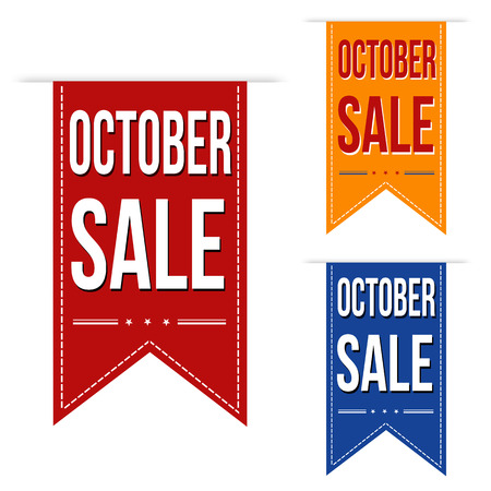 advertised: October sale banners design over a white background, vector illustration