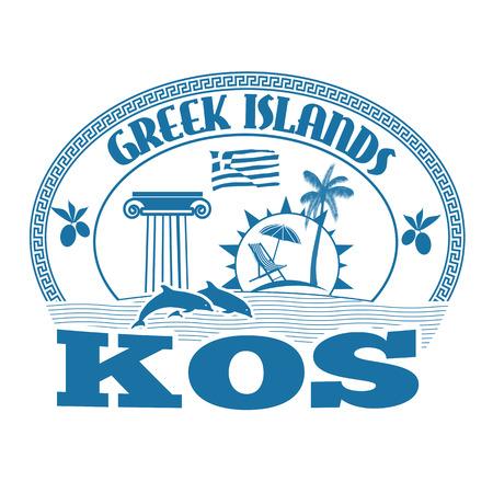 greek islands: Greek Islands, Kos, stamp or label on white background, vector illustration