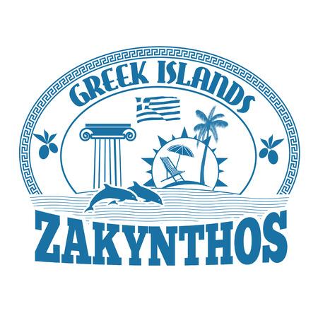 greek islands: Greek Islands, Zakynthos, stamp or label on white background, vector illustration Illustration