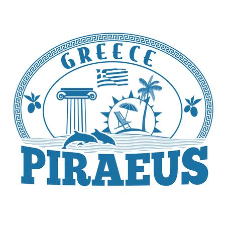greece stamp: Piraeus, Greece stamp or label on white background, vector illustration