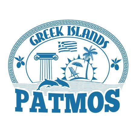 greek islands: Greek Islands, Patmos, stamp or label on white background, vector illustration Illustration