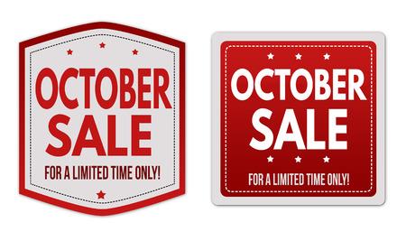 październik: October sale stickers set on white background, vector illustration