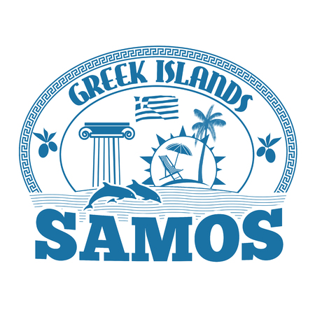 advertising column: Greek Islands, Samos, stamp or label on white background, vector illustration Illustration