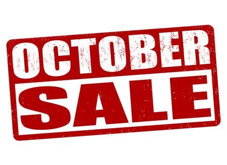 październik: Październik gumy Sprzedaż znaczek grunge na białym tle, ilustracji wektorowych Ilustracja