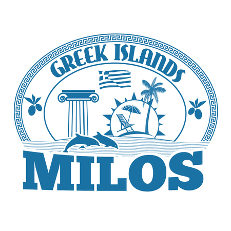 greek islands: Greek Islands, Milos, stamp or label on white background, vector illustration
