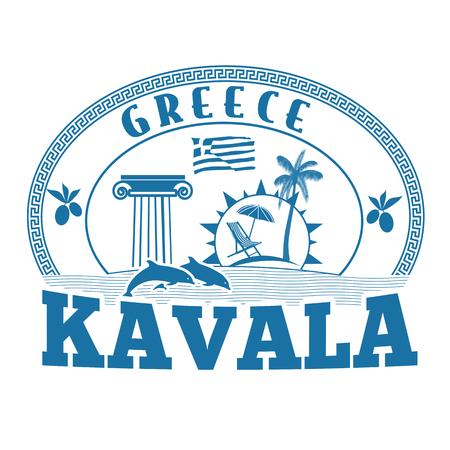 greece stamp: Kavala, Greece stamp or label on white background, vector illustration Illustration