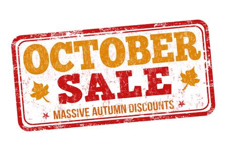 Oktober verkaufen Grunge-Stempel auf weißem Hintergrund, Vektor-Illustration