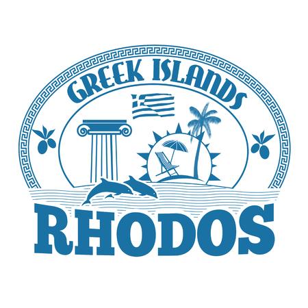 greek islands: Greek Islands, Rhodos, stamp or label on white background, vector illustration