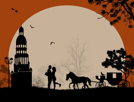 Carriage and lovers at night in romantic place, vector illustration Illustration