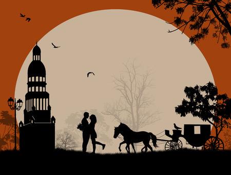 siluetas de enamorados: Transporte y amantes en la noche en lugar romántico, ilustración vectorial