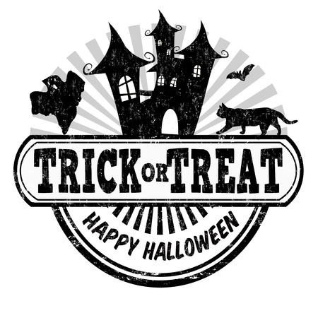 Trick or treat grunge rubber stamp on white background, vector illustration