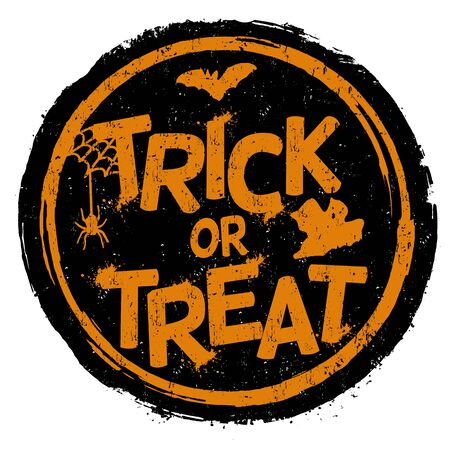 treat: Trick or treat grunge rubber stamp on white background, vector illustration