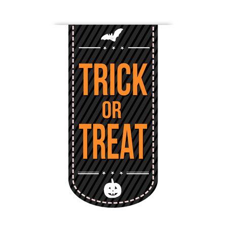 treats: Truco o diseño de la bandera sobre un fondo blanco, ilustración vectorial Vectores
