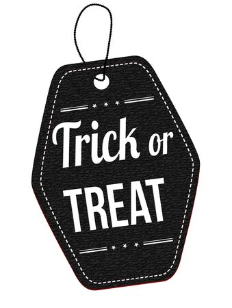 treat: Trick or treat black leather label or price tag on white background, vector illustration