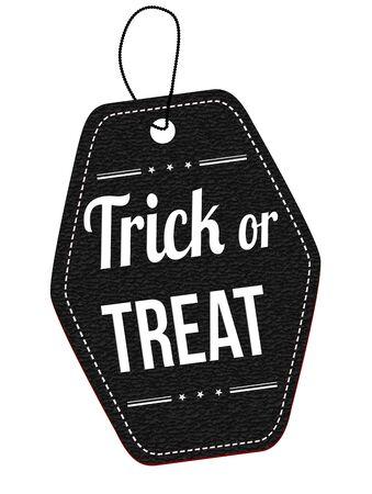 treats: Truco o etiqueta de cuero negro o etiqueta de precio en el fondo blanco, ilustración vectorial