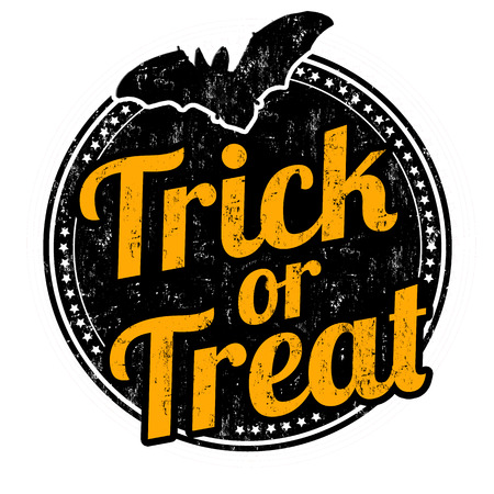 treats: Truco o grunge sello de goma en el fondo blanco, ilustración vectorial
