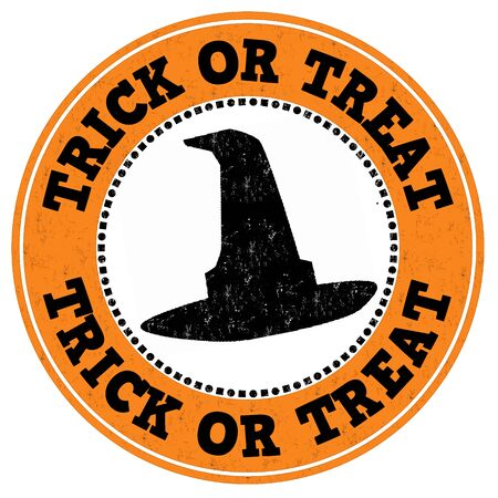 tratar: Trick or treat grunge rubber stamp on white background, vector illustration