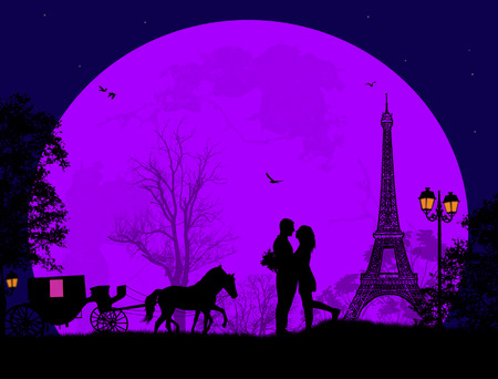 loving: Carriage and lovers at night in Paris, romantic background, vector illustration Illustration