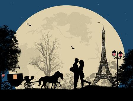 parejas enamoradas: Transporte y amantes en la noche en París, romántica de fondo, ilustración vectorial