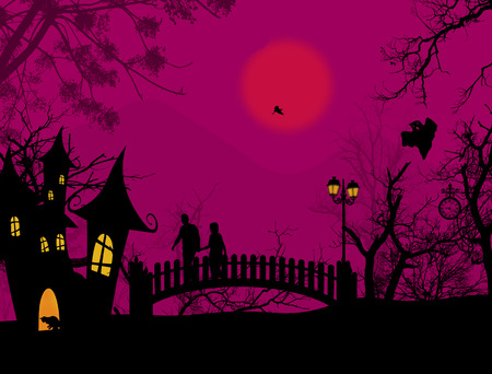scarry: Scary halloween background with castle and couple on scarry place, vector illustration