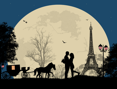 Carriage and lovers at night in Paris, romantic background, vector illustration Фото со стока