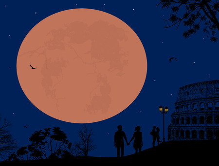outdoor wedding: Couple silhouette in love in front of Colosseum in Rome on beeutiful night, vector illustration