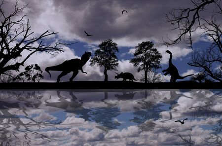 triassic: Dinosaurs silhouettes in beautiful cloudy landscape near water, background illustration Stock Photo
