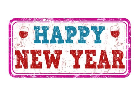 date stamp: Happy new year grunge rubber stamp on white, vector illustration