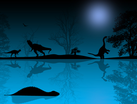 triassic: Dinosaurs silhouettes in beautiful landscape at blue night near water,background illustration