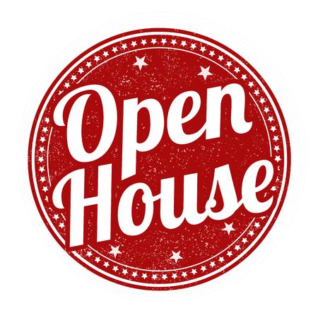abrir puertas: Casa abierta de caucho grunge sello en el fondo blanco, ilustraci�n vectorial Vectores